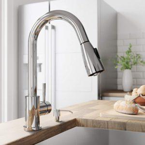 VIGO VG02005CH Weston 16 Inch Single Handle Pulldown Arc Brass Kitchen Sink Faucet