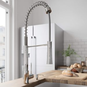 VIGO VG02022CH Laurelton 22 Inch Single Handle Pulldown Arc Brass Kitchen Sink Faucet