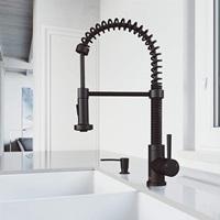 VIGO Edison Pull-Down Spray Kitchen Faucet With Soap Dispenser In Matte Black