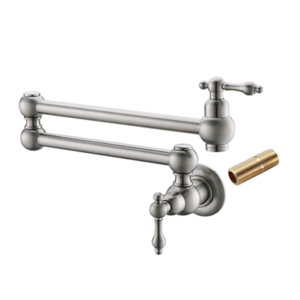 Havin HV1003 Pot Filler Faucet Wall Mount,Brushed Nickel,with Double Joint Swing Arms,Single Hole, 2 Handles with 2 cartridges to Control Water