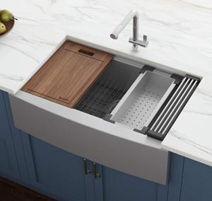 "Ruvati Verona RVH9200 33"" Apron-front Workstation Farmhouse Kitchen Sink"
