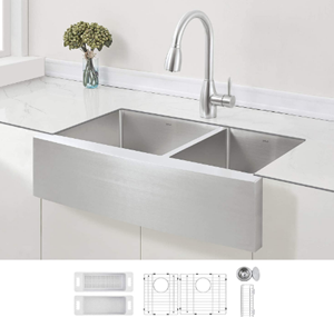 ZUHNE 33-Inch Double Bowl Stainless Steel Farmhouse Kitchen Sink