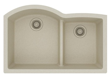 Elkay Quartz Classic ELGHU3322RBQ0 Bisque Offset 60 40 Double Bowl Undermount Sink with Aqua Divide