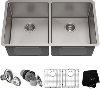 Kraus Standard PRO 33-inch 16 Gauge Undermount 50 50 Double Bowl Stainless Steel Kitchen Sink, KHU102-33