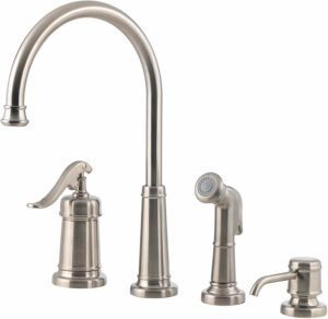 Pfister LG264YPK Ashfield 1-Handle Kitchen Faucet with Side Spray & Soap Dispenser, Brushed Nickel