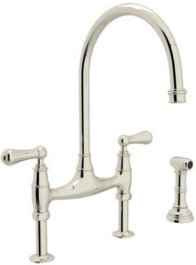 Rohl U.4719L-PN-2 Perrin and Rowe Bridge Style Kitchen Faucet with Sidespray