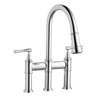 Elkay LKEC2037CR Three Hole Bridge Faucet with Pull-down Spray and Lever Handles, Chrome
