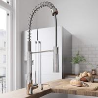 VIGO VG02022CH Laurelton 22 Inch Single Handle Pulldown Arc Brass Kitchen Sink Faucet, Single Hole Install, 360 Swivel Spout, Premium Seven Layer Plated Chrome Finish