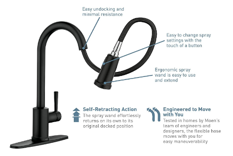 Moen 7594ESRS Arbor Motionsense Two-Sensor Touchless Kitchen Faucet Reflex System