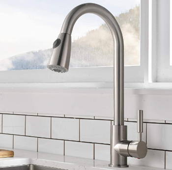 Comllen Commercial Single Handle High Arc Brushed Nickel Pull Out Kitchen Faucet