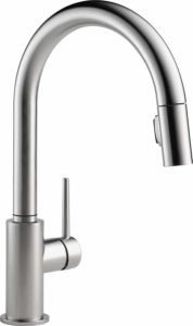DELTA FAUCET Trinsic Single-Handle Kitchen Sink Faucet with Pull Down Sprayer and Magnetic Docking Spray Head, Arctic Stainless 9159-AR-DST