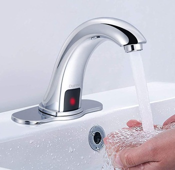 Dalmo Automatic Sensor Touchless Bathroom Sink Faucet with Hole Cover Plate, Chrome Hands Free Bathroom Water Tap with Control Box and Temperature Mixer