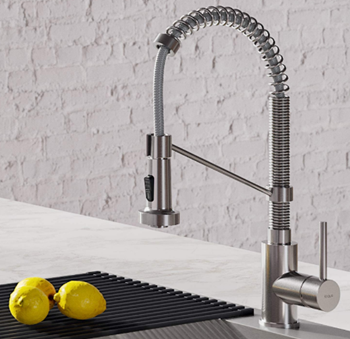 Kraus KPF-1610SS Bolden 18-Inch Commercial Kitchen Faucet with Dual Function Pull-Down Sprayhead in All-Brite Finish, Stainless Steel