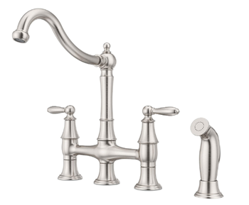 Pfister F-031-4COS Courant Bridge Kitchen Faucet with Side Sprayer in Stainless Steel
