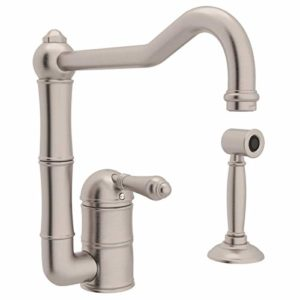 Rohl A3608LMWSSTN-2 Single Handle Column Spout Kitchen Faucet