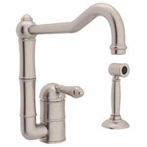 Rohl A3608LMWSSTN-2 Single Handle Column Spout Kitchen Faucet