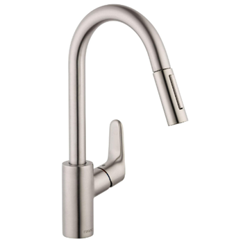 hansgrohe Focus Premium 1-Handle 16-inch Tall Stainless Steel Kitchen Faucet with Pull Down Sprayer with Quick Clean Magnetic Docking Spray Head in Stainless Steel Optic, 04505800