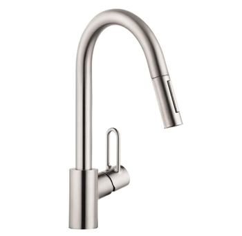 hansgrohe Talis Loop 1-Handle Tall Stainless Steel Kitchen Faucet with in Stainless Steel Optic, 04701805