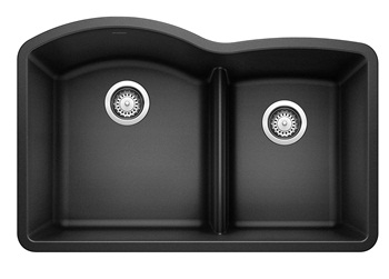 BLANCO, Anthracite 441590 DIAMOND SILGRANIT 60 40 Double Bowl Undermount Kitchen Sink with Low Divide
