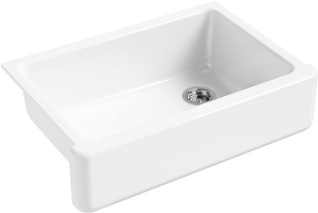 KOHLER K-5827-0 Whitehaven Farmhouse Self-Trimming Undermount Single-Bowl Sink with Tall Apron, White