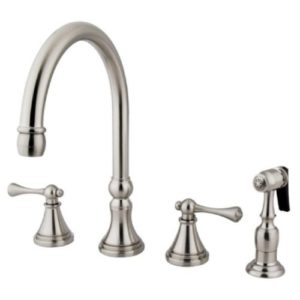 Kingston Brass KS2798BLBS 8in Deck Mount Kitchen Faucet with Brass Sprayer