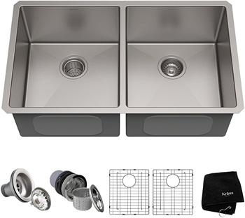 Kraus Standard PRO 33-inch 16 Gauge Undermount 50 50 Double Bowl Stainless Steel Kitchen Sink, KHU102-33
