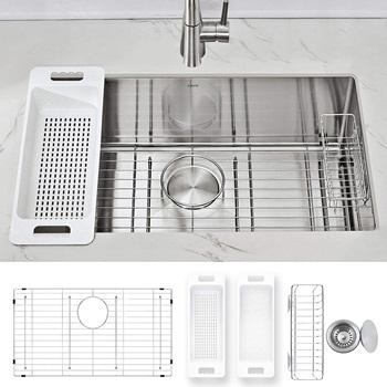 Modena Undermount Kitchen Sink Set, 16-Gauge Stainless Steel (30-Inch Single Bowl)