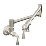 Moen S664SRS Traditional Wall Mount Swing Arm Folding Pot Filler Kitchen Faucet, Spot Resist Stainless