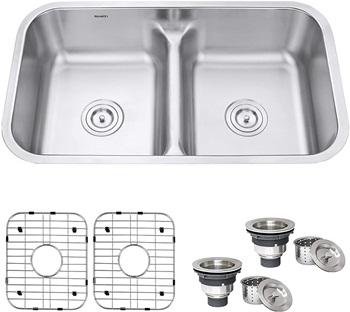 Ruvati 32-inch Low-Divide 50 50 Double Bowl Undermount 16 Gauge Stainless Steel Kitchen Sink – RVM4350