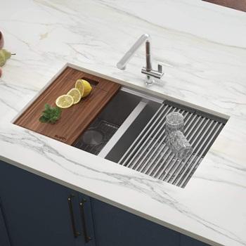Ruvati RVH8350 33-inch Workstation Ledge 50 50 Double Bowl Undermount 16 Gauge Stainless Steel Kitchen Sink