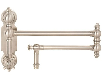 Waterstone 3150-SN Towson Wall Mount Pot Filler Faucet with Cross Handle, Satin Nickel