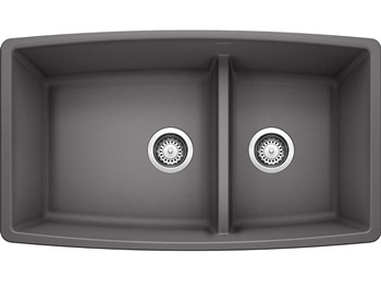 BLANCO, Cinder 441474 PERFORMA SILGRANIT 60 40 Double Bowl Undermount Kitchen Sink with Low Divide