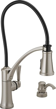 Delta Faucet Foundry Single-Handle Kitchen Sink Faucet with Pull Down Sprayer, Soap Dispenser, ShieldSpray Technology and Magnetic Docking Spray Head, SpotShield Stainless 19744Z-SPSD-DST