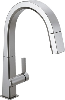 Delta Faucet Pivotal Single-Handle Kitchen Sink Faucet with Pull Down Sprayer and Magnetic Docking Spray Head, Arctic Stainless 9193-AR-DST