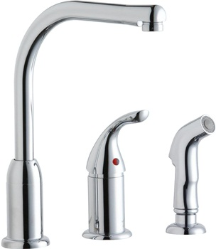 Elkay Everyday LK3001CR Deck Mount Kitchen Faucet with Remote Lever Handle and Side Spray, Chrome