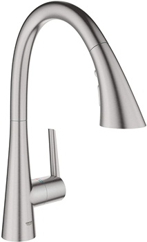 Grohe 32298DC2 Ladylux L2 Single-Handle Pull Down Triple Spray Kitchen Faucet in Supersteel