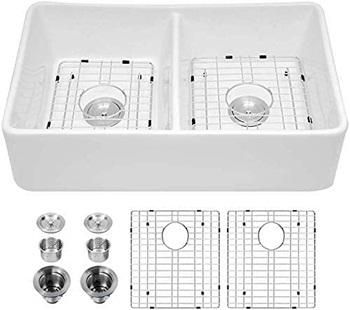 Logmey 32 Inch Farm Sink Double Bowl Apron Front White Ceramic Porcelain Fireclay Farmhouse Kitchen Sink