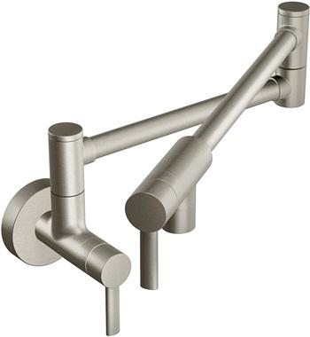 Moen S665SRS Modern Wall Mount Swing Arm Folding Pot Filler Kitchen Faucet, Spot Resist Stainless