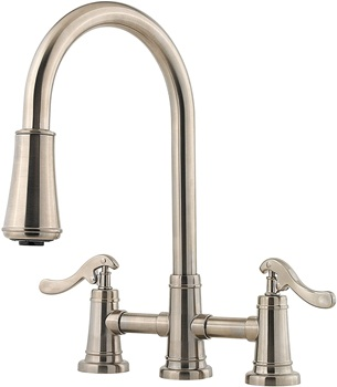 Pfister LG531YPK Ashfield 2-Handle Pull Down Kitchen Faucet in Brushed Nickel, 1.8 gpm