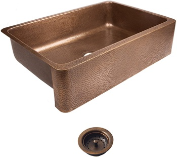 Sinkology SEK307-33-AMZ-B Lange Farmhouse 32 in. Single Bowl Strainer Kitchen Sink with Drain, Antique Copper