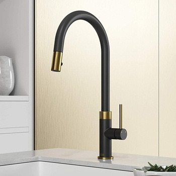 VIGO VG02033MGMB 19inch H Bristol Single Handle with Pull-Down Kitchen Faucet in Matte Brushed Gold and Matte Black