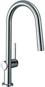 hansgrohe Talis N High Arc Kitchen Faucet 1-Handle 15-inch Tall Pull Down Sprayer Magnetic Docking Spray Head in Chrome, 72846001